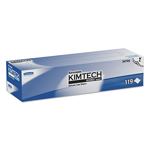 Kimtech 34705 Kimwipes Delicate Task Wipers, 2-Ply, 11 4/5 x 11 4/5, 119 per Box (Case of 15 Boxes)