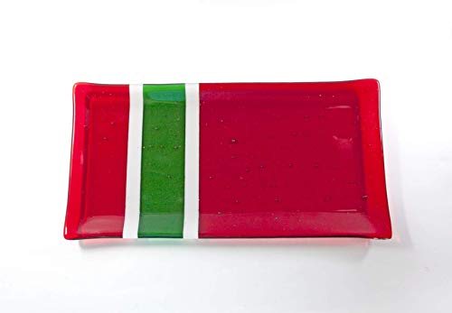 - Red and Green Glass Platter Christmas Fused Glass Tableware