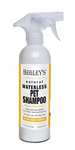 Begley's Natural No Rinse Waterless Pet Shampoo, Bathless Cleaning, Deodorizing, and Odor Removal for a Shiny, Fresh Smelling Coat - Effective for Dogs, Puppies, and Cats - Fresh Citrus Scent