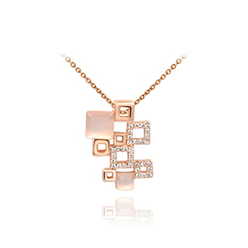 Fancy Jewelry Rose Gold Plated Multi Square Shaped Shining Opal Pendant Necklace - Man In Bear Costume The Shining