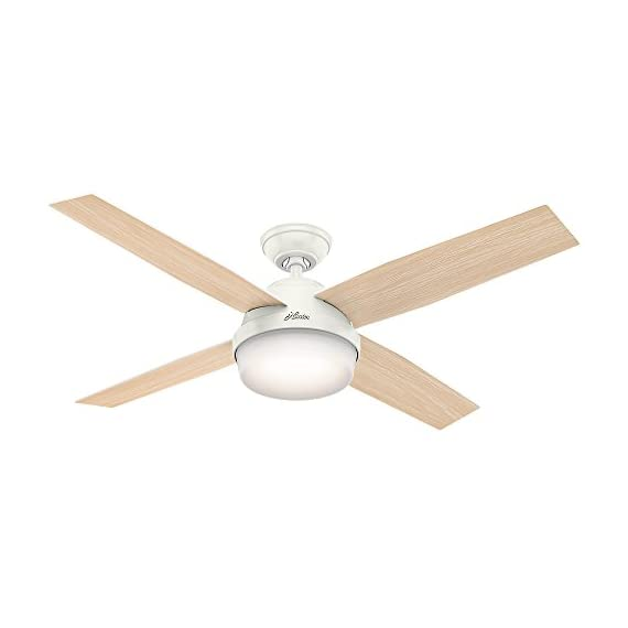 "Hunter Dempsey Indoor / Outdoor Ceiling Fan with LED Light and Remote Control, 52"", White 3 MODERN CEILING FAN: The contemporary Dempsey fan comes with LED light covered by cased white glass that will keep home interior and exterior current and inspired; Measures 52 x 52 x 13.63 Inch MULTI-SPEED REVERSIBLE FAN MOTOR: Whisper Wind motor delivers ultra-powerful airflow with quiet performance; Change the direction from downdraft mode during the summer to updraft mode during the winter LED LIGHT KIT: Energy-efficient dimmable LED light bulbs let you control the lighting and ambiance of the living space; The long lasting bulbs have longer lifespan than traditional bulbs"
