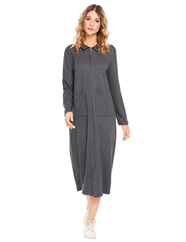 Vansop Women's Winter Thick Long Sleeve Nightgown Polyester Lounger Nightshirts(Dark Grey L) (Front Lounger Zip)