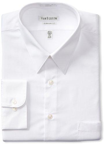 Van Heusen Men's Poplin Regular Fit Solid Point Collar Dress Shirt, White, 17.5