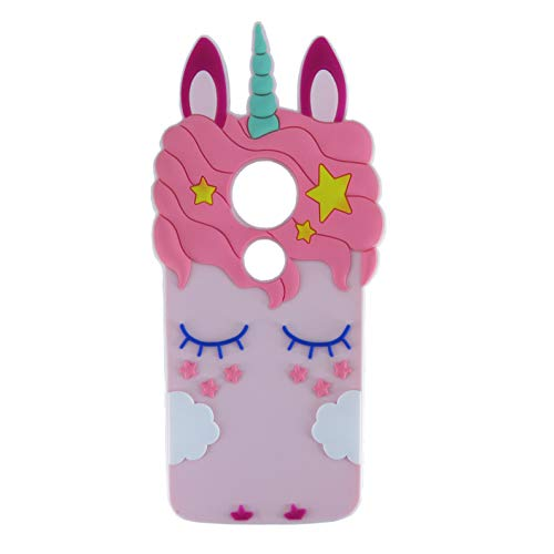 EMF Pink Horse Case for Motorola Moto G4 / Moto G4 Plus,3D Cartoon Animal Silicone Protective Kawaii Funny Character Cover,Animated Cool Skin Case for Kids Teens Guys Moto G 4th - Monster Moto G Case