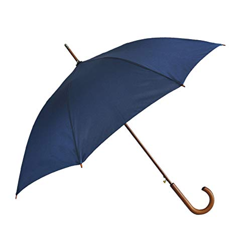 - SoulRain Stick Umbrellas Automatic Open Windproof Wood J Handle Rain Umbrella Navy Blue for Men Women Arc Classic Unbreakable 48 Inch