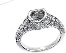 0.31 CTW Diamond Semi Mount Ring in Platinum Gold