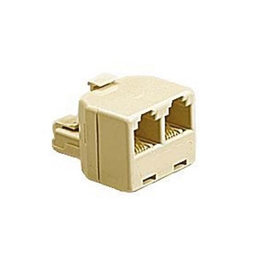 Steren Signal Splitter - Telephone Tee Adapter Ivory RJ11 Male to 2 RJ-11 Female Modular Splitter Line 2 Way Dual Jack Plug Audio Data Signal Cable Connector Outlet Snap-In Component