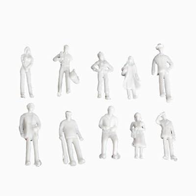 Shallen 100pcs Unpainted Model Train Railway Architecture People Figures 1:75 Ho scale