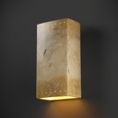 (Justice Design CER-1180-TERA Ambiance - One Light Large Rectangle Wall Sconce with Closed Top, Choose Finish: Terra Cotta Finish (Smooth Faux), Choose Lamping Option: Standard Lamping)