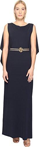 Alberta Ferretti Women's Draped Sleeve Gown Blue - Ferretti Alberta Sleeveless