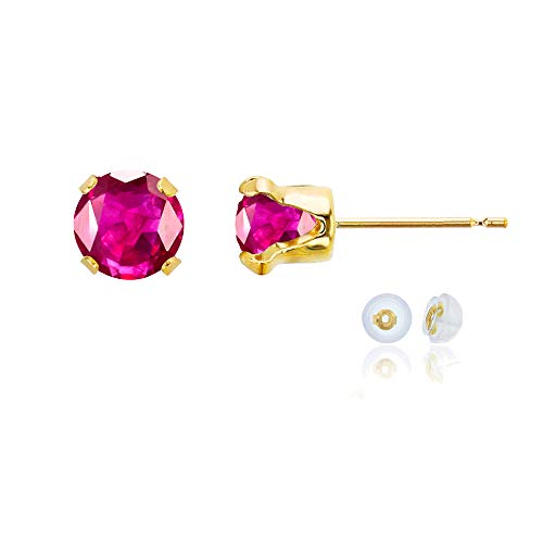Ruby Earrings Glass (14K Yellow Gold 6mm Round Glass Filled Ruby Stud Earring with Silicone Back)