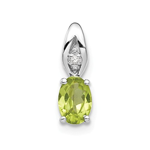 14k White Gold Green Peridot Diamond Pendant Charm Necklace Gemstone Birthstone August Set Style Fine Jewelry For Women Gift Set