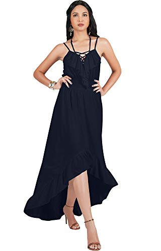 KOH KOH Womens Sexy Spaghetti Strap Ruffle V-Neck Asymmetrical Summer Maxi Dress