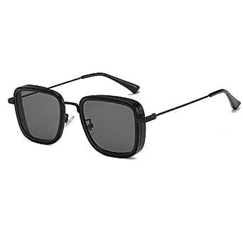 Men's and Women's Aviator Square Metal Frame Classic Sunglasses,Steam Punk Square Glasses,Kabir Singh Shades (Black)