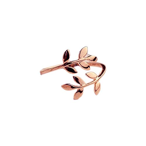 Charms Two Colors Olive Tree Branch Leaves Open Ring for Women Girl Wedding Rings Adjustable Knuckle Finger Jewelry,Resizable,Rose Gold