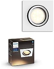 Philips Hue Milliskin inbouwspot - Duurzame LED Verlichting - Warm tot Koelwit Licht - Dimbaar - Verbind met Bluetooth of Hue Bridge - Werkt met Alexa en Google Home - Wit - Vierkant