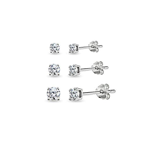 Sterling Silver Ear Studs (3 Pair Set Sterling Silver Cubic Zirconia Round Stud Earrings, 3mm 4mm 5mm)