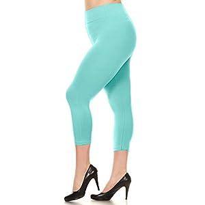 Yelete Women's Solid Seamless Biker Capri Full Length Leggings,Capri - Mint,One Size Plus Size