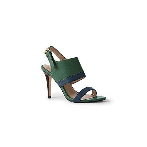 74eb57689 on sale Lands' End Canvas Women's Strappy Heeled Sandals, Dark Grass Green