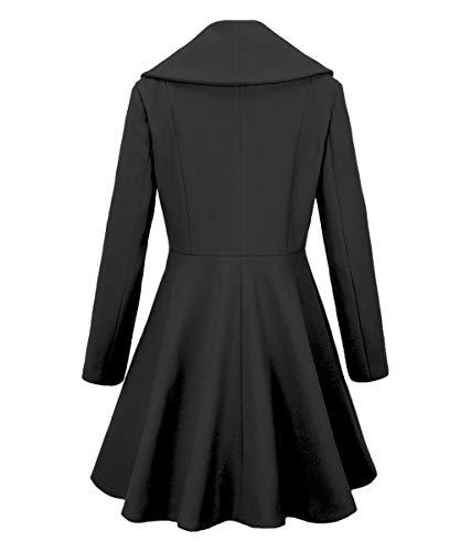 Begonia.K Womens Wool Trench Coat Lapel Wrap Swing Winter Long Overcoat...