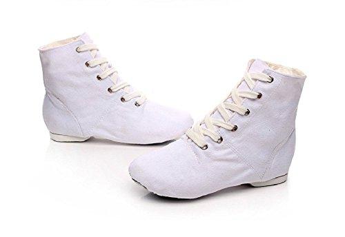 NLeahershoe Schnür-Segeltuch-Tanz beschuht flache Jazz-Stiefel für die Praxis, passend für Männer und Frauen Weiß