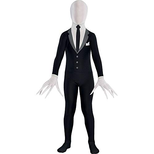 Amscan Slender Man Partysuit Halloween Costume for Teens, Medium, with Double Zipper