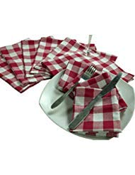 Cloth Napkin In Gingham Plaid Check Fabric-18x18 Red White, Wedding Napkins,Cocktails Napkins,Fabric Napkins,Cotton Napkins Mitered Corners & Generous Hem, Machine Washable Dinner Napkins Set of 12