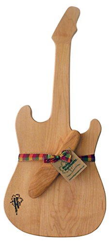 Electric Guitar Shaped Gift Set Maple Cheese Cutting Board with Cherry Wood Spreader Michigan Mapleworks