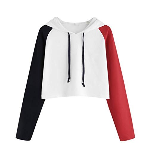 (Sunhusing Womens Three-Color Stitching Long-Sleeved Hooded Sweater Fashion Drawstring Short Pullover)