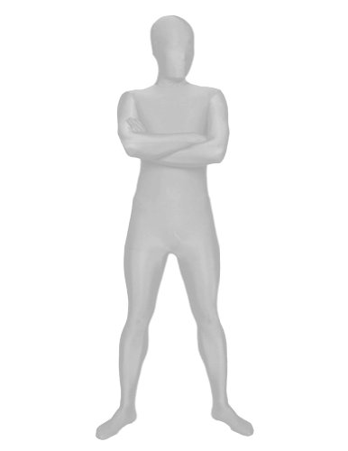 [SecondSkin Men's Full Body Spandex/Lycra Suit, Silver, X-Large] (Spandex Suits)