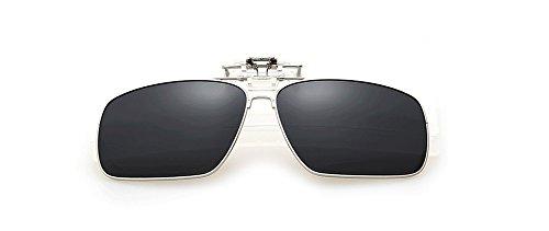 SOOLALA Classic Square Design Full Alloy Frame Polarized Clip-on Flip up Sunglasses Lenses, - Sunglasses Clip On Best