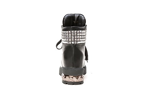 heels Kitten Boots Structured Round with Closed Black Women's Toe AmoonyFashion FPnvaq1W
