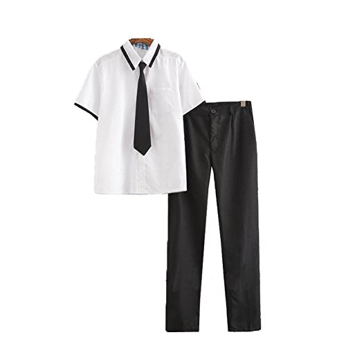 Dream-Store College Men's High School Boys School Uniform Long-Sleeve Button-Down Shirt and Pants (Asian XXL, Short Sleeve) by Dream-Store