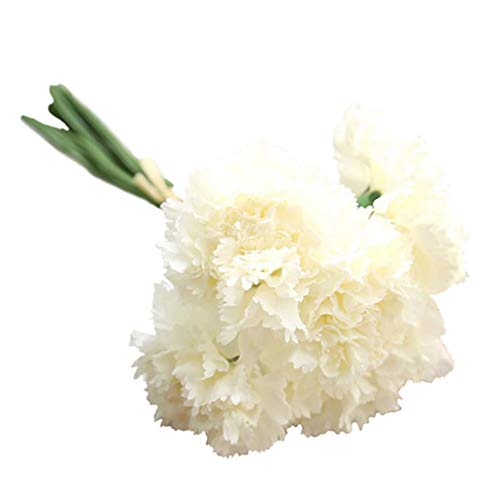 zbtrade 1 Bouquet 6 Branches Artificial Carnations Flowers Home Garden Office Wedding Party Decor Photo Props Milk White