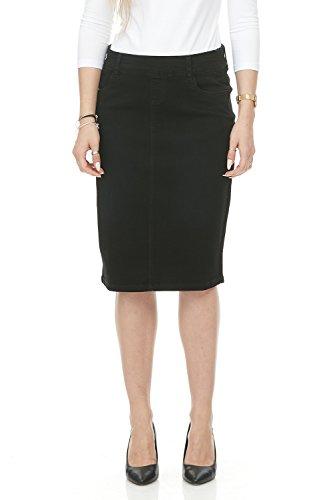 Esteez Jean Skirt for Women Knee Length Manhattan Black 10
