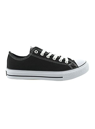 Jumex Schuhe Herren Canvas Low Top Sneaker Freizeitschuhe JX-9023 Schwarz