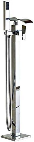 クロームの滝自立式浴槽蛇口温水と冷水真鍮シングルハンドル浴槽シャワーミキサーハンドヘルドシャワー付き床取り付けタップ,Chrome c