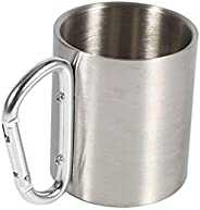 Camping Travel Stainless Steel Cup, Carabiner Hook Handle Picnic Water Mug, Outdoor Travel Hike Cup