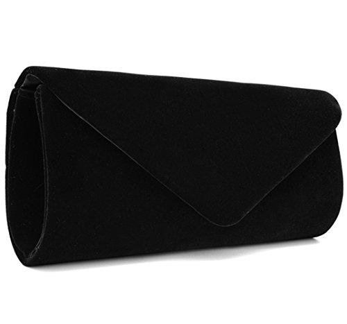 U-Story Women's Evening Wedding Party Velvet Envelope Clutch Bag Tote Purse Handbag (Small Suede Purse)