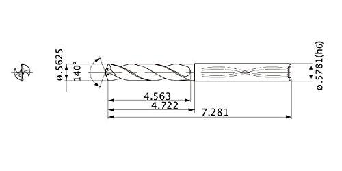 2.6 mm Point Length 5 mm Hole Depth 14.288 mm Cutting Dia Mitsubishi Materials MWS05625LB MWS Series Solid Carbide Drill Internal Coolant 14.684 mm Shank Dia.