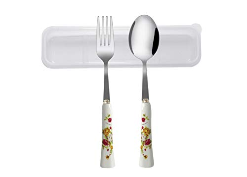 AMGK Portable 2 Pieces Flatware Set, Portable Stainless Steel Spoon and Fork Set with Ceramics Handle Reusable Utensil…