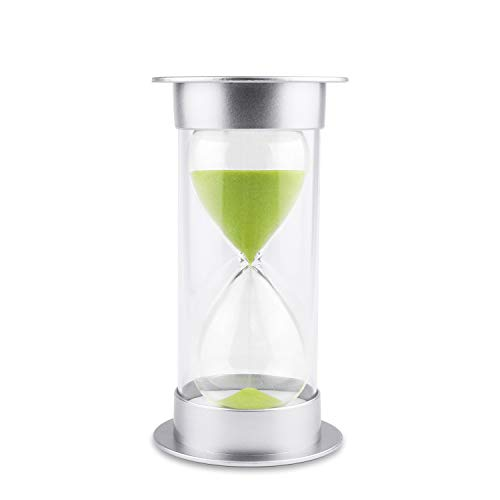 Hourglass Sand Timer 5/10/15/30/45/60 minutes Sand glass Timer for Romantic Mantel Office Desk Book Shelf Curio Cabinet Christmas Birthday Gift Kids Games Classroom Kitchen Home Dec (5 min, green)