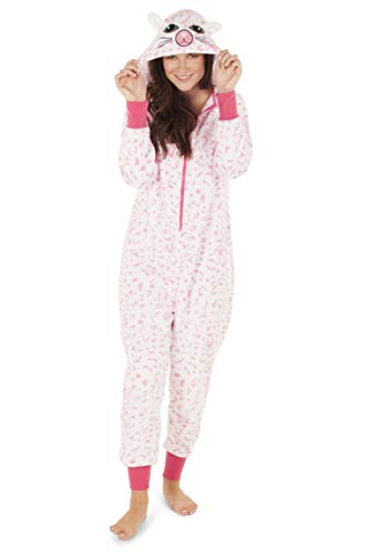 Totally Pink Women's Plush Warm Cozy Character Adult Cat Onesie