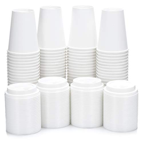 DOBI Disposable Coffee Cups with Lids 12 oz. / (100 PACK) / White - Disposable Paper Cups w/Plastic Lids for All Your Hot Drinks Needs