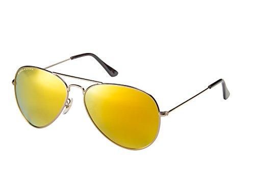 Eagle Eyes Mirrored Polarized Sunglasses  - Celebrity Classic Aviator Sunglasses, Gold Frame, Yellow-Gold Lenses, Large 58 - Rimmed Aviators Gold