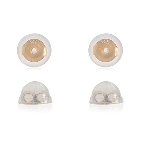 - Universal EZback Earring Backs Soft Clear Silicone and 14k Yellow Gold Small 2 Pairs