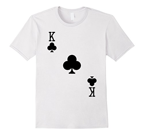 Mens King of Clubs Costume T-Shirt Halloween Deck of Cards 2XL White