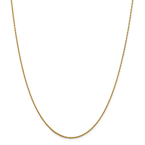1.3mm 14k Yellow Gold Classic Solid Rope Chain Necklace, 20 ()