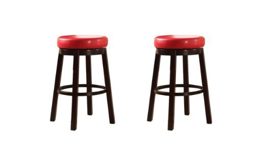 Roundhill Furniture Wooden Swivel Barstools, Bar Height, Bloody Red, Set of 2 (Leather Wood Honey)