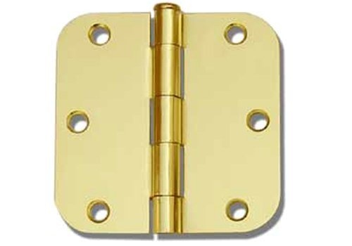 36 PC Polished Brass 3.5X3.5 5//8 Round Corner Interior Door Hinges